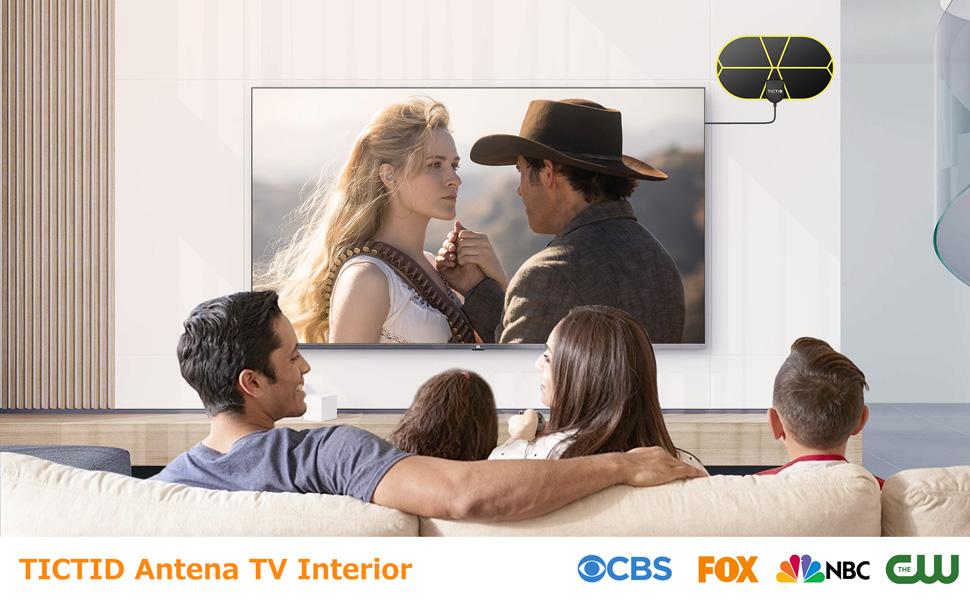 Antena TV Interior, TICTID Antena TV Portátil HDTV Digital con Amplificador de Señal Inteligente, Soporte 4K 1080 HD/VHF/UHF, Apto para Todos los ...