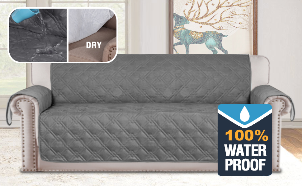 H.VERSAILTEX Full Waterproof Oversized Sofa Covers for Living Room Furniture Protector Couch Covers for Dogs Sofa Slipcover for Leather Couch Protect ...