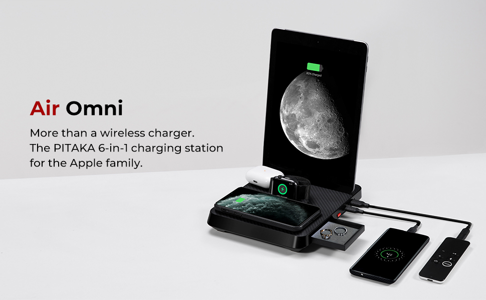 pitaka wireless fast charging station multiple device 6 in 1 iphone ipad airpods aramid fiber apple