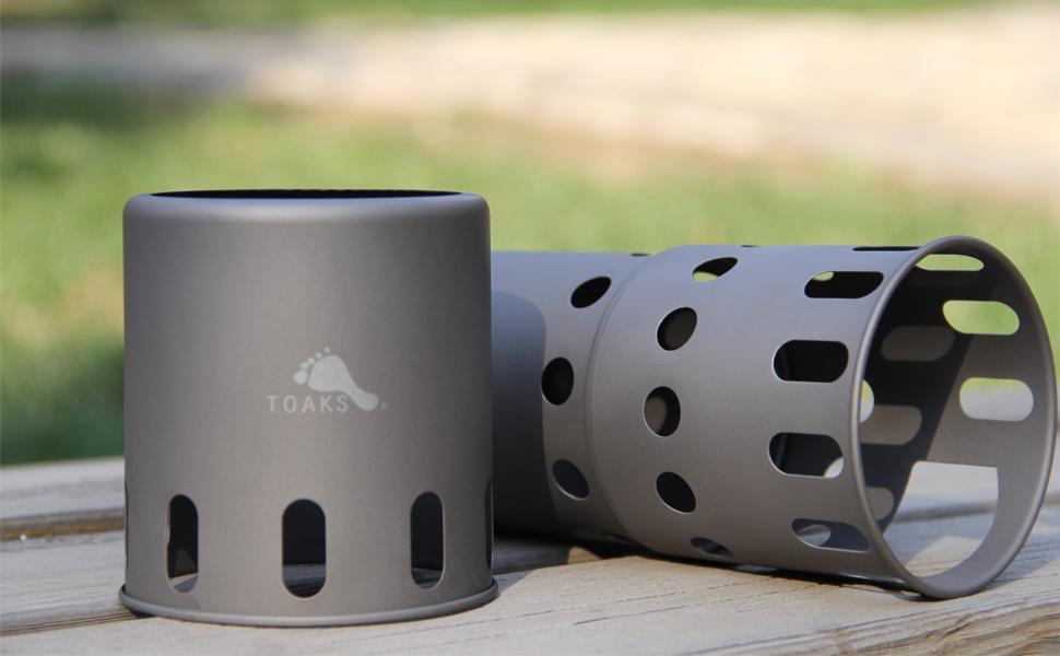 Hornillo de camping Toaks Titan para quemar madera, de exterior
