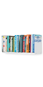 Wallniture Libro Bookshelf U Shape Floating Wall Shelf, Books CD DVD Storage Metal White