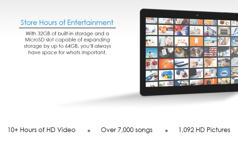 The Innovate ten holds 10 plus hours of HD Video, over 7000 songs, and 1092 HD pictures