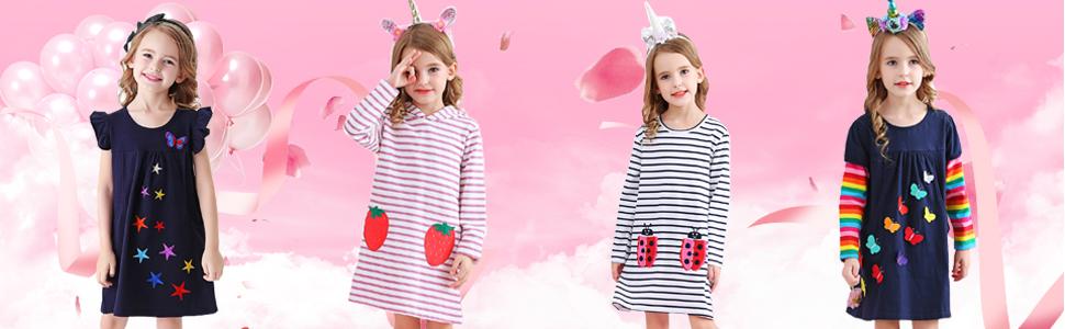 long sleeve girls dress rainbow winter butterfly flower dress navy blue pocket jersey t-shirt clothe