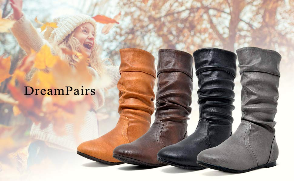 DREAM PAIRS Girls Faux Fur Lined Knee High Winter Riding Boots Toddler//Little Kid//Big Kid