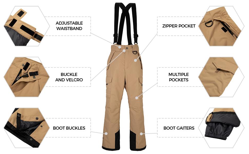 Wantdo Men's Waterproof Ski Pants
