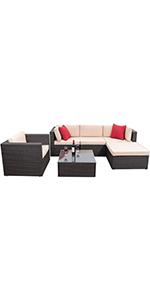 6 pieces patio sofa