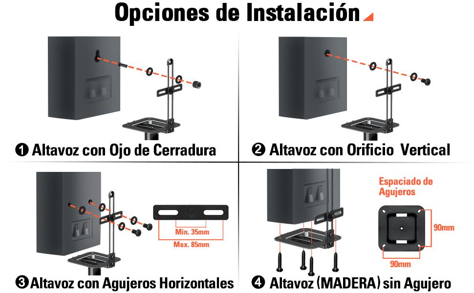 Soporte universal de altavoces Eono Essentials para altavoz satélite para Bose Polk JBL Sony Yamaha