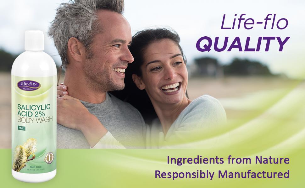 Life-flo Salicylic Acid 2% Body Wash Cleans Pores Gently Exfoliates Natural Mint Fragrance 16oz