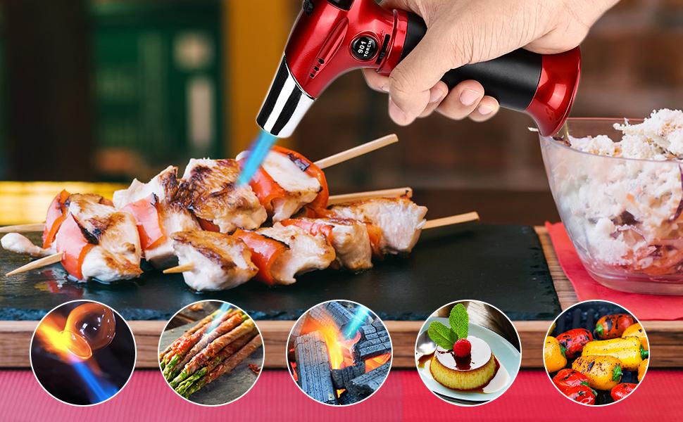RenFox Soplete de Cocina Recargable Profesional Antorcha de Cocina Antorcha Butano Encendedor Culinario con Cerradura de Seguridad y Llama Ajustable ...