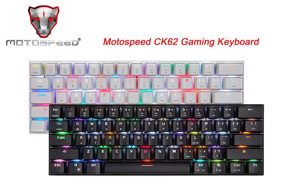 Docooler MOTOSPEED CK62 Bluetooth 3.0 Teclado mecánico para Juegos RGB, 61 Teclas inalámbrica/USB Compatible con PC/Laptop/iOS/Android/portátil ...