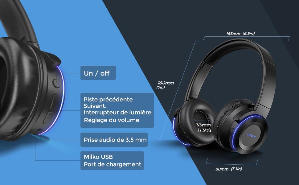 casque bluetooth sans fil noir audio ecouteur pc musique noir gamer corsaires micro porte marshall