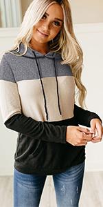 Colorblock Drawstring Hooded Sweatshirt with Pockets