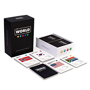 Cards with flags facts countries world map continents board game educational flash cards