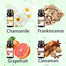 chamomil essential oil grapefruit essential oil frankincense essential oil cinnamon essential oil