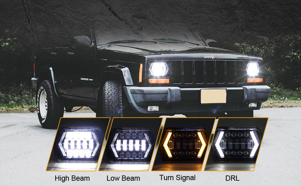 Headlight Assemblies & Parts Motors AMUNIESUN 2PCS 7x6 5x7 Square ...