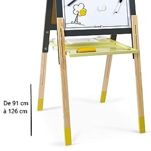 tableau réglable gris et jaune janod pied réglables