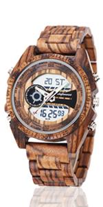 digital wood watch