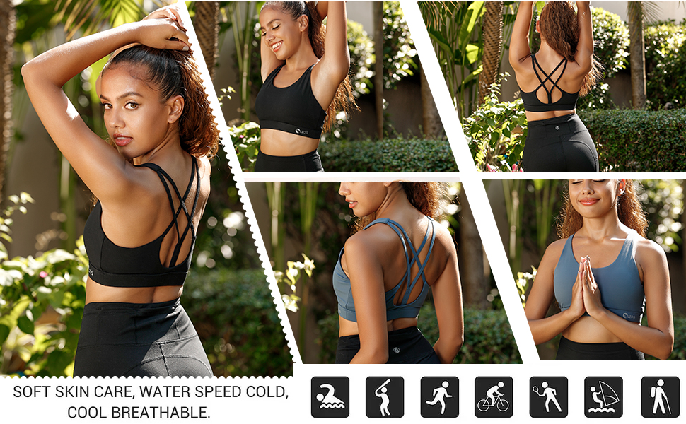 Sexy back criss cross bra that allows full range of motion. Medium support level is ideal