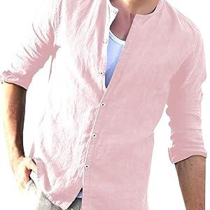 Cassiecy - Camisa de Lino para Hombre, Camiseta de Manga ...