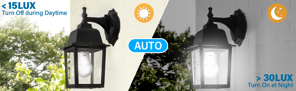 dusk to dawn light sensor bulbs a19 12w auto on off bulbs 4pack 5000K daylight white sensor light