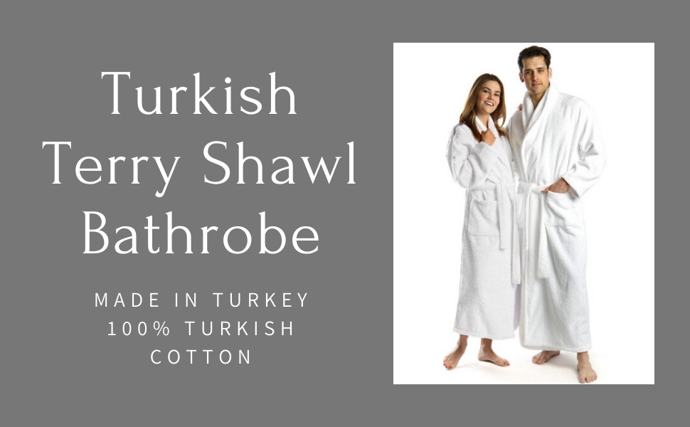 turkish terry shawl bathrobe 100% cotton tall bathrobe luxury absorbent gift for couples