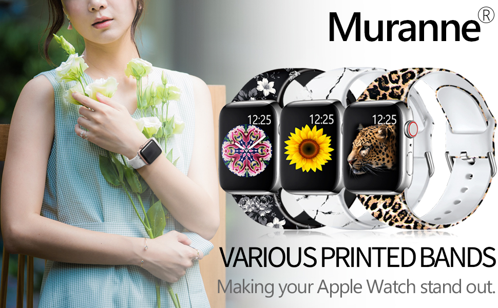 Muranne Band Compatible with Apple Watch SE 40mm 38mm 42mm 44mm for Women Ladies Girls