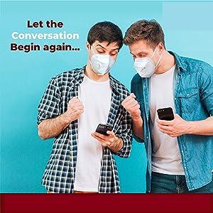 Let conversations begin again....North Black N95 mask elastic earloop adjustable nose clip travel
