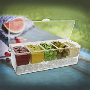 7Penn Condiment Tray with Tongs and Spoons