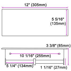 Dimensions of Polished Chrome TP Holder with Shelf