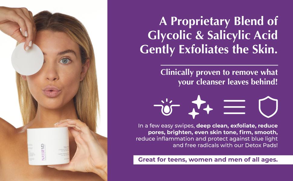 glycolic acid, salicylic acid, face cleanser, deep clean, reduce pores, brighten, firm skin, detox