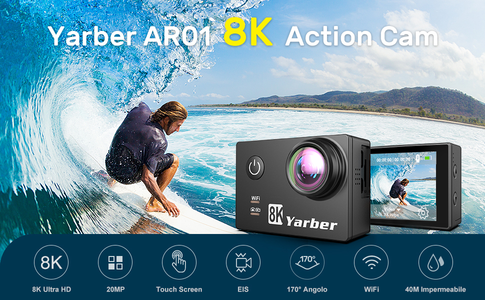 yarber-action-cam-8k-20mp-wi-fi-impermeabile-30m-