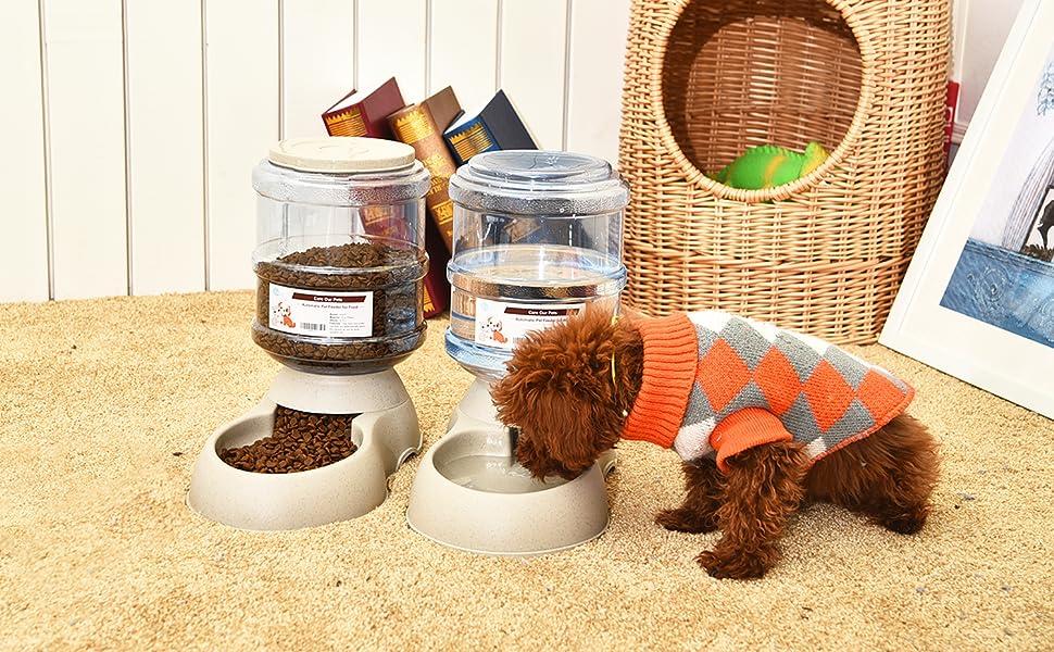 Dispensador de Agua Autom/ático para Mascotas de Gatos //Perros / 3.75L x 2 Piezas Preservador de Alimentos y Agua