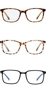 WOWSUN Lightweight TR90 Blue Light Glasses for Women Men, Pack of 2