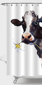 Watercolor Cow and Flower Shower Curtain