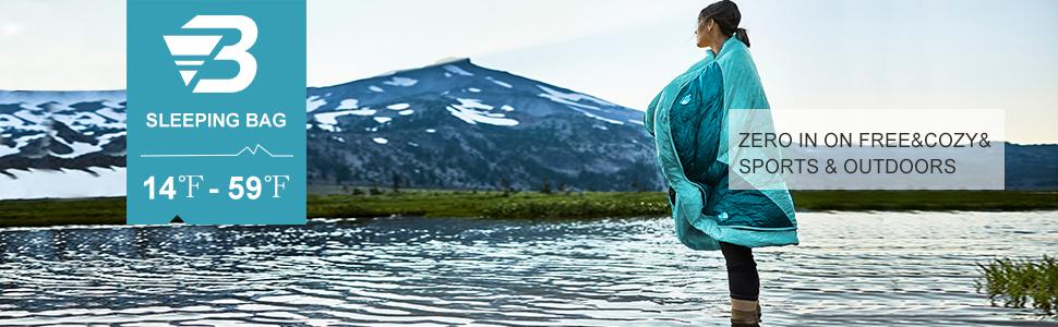 Bessport Momia Saco de Dormir Ligero de con Saco de Compresi/ón para Las 3-4 Estaciones Sacos de Dormir Compactos para Adultos Senderismo y Trekking-Blue/&Grey para el Camping Festivales