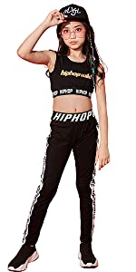 3Pcs Girls Hip Hop Clothes Set Tank Top Street Dance Outfit Cropped Hoodie Cargo Pants
