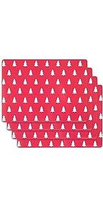 KAF Home Christmas Trees Print Cork Backed 4 Piece Place Mat Set