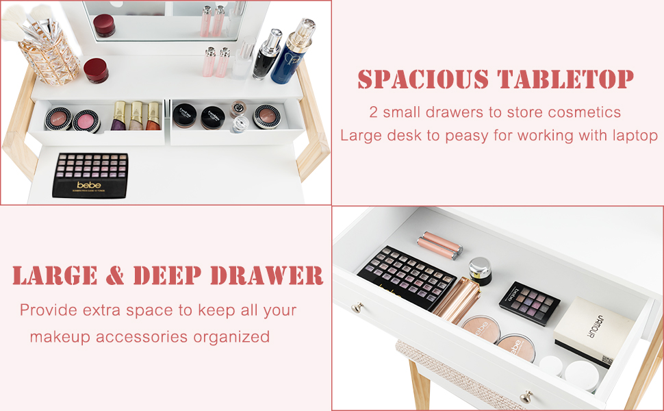2 small drawers to store cosmetics