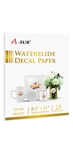 laser white waterslide decal paper