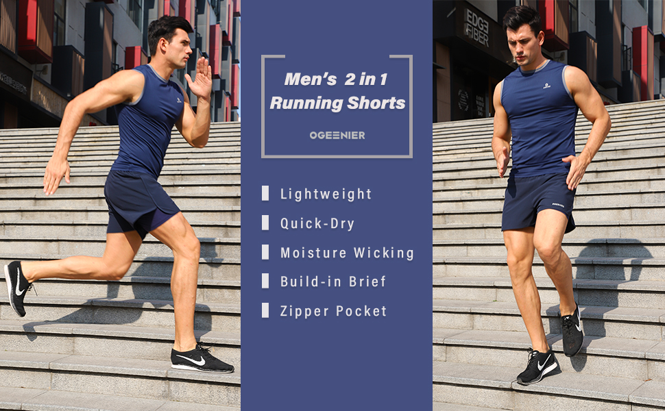 Ogeenier Mens Quick Dry Running Shorts Gym Training Workout Sports Breathable Shorts with Pockets