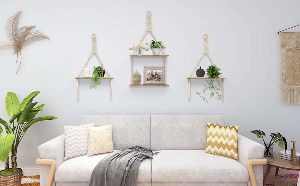Boho hanging shelf