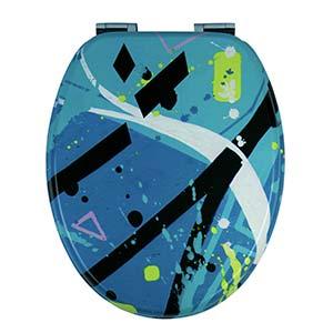 Universalmodell Originelles Kunstwerk/Projection/von/Blazer Doppelte Absenkautomatik und zinkScharniere Tohaa Design WC-Sitz aus Holz lackiert Universalbefestigungen f/ür WC mitgeliefert