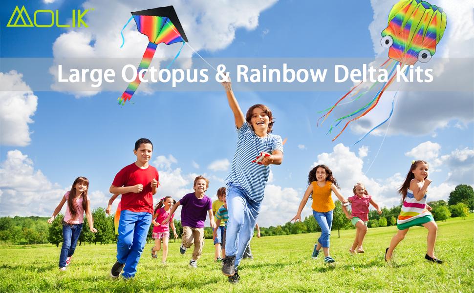 Large Octupus Rainbow Delta kites