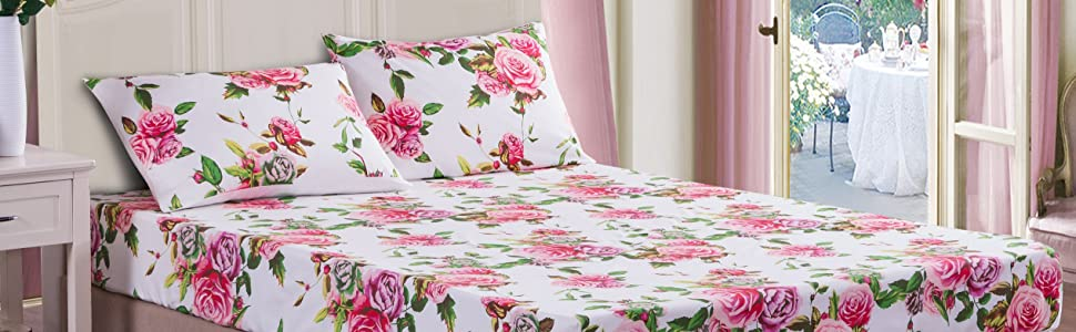 matching floral garden roses pink green fitted bed sheet set with pillow cases shams romantic gift