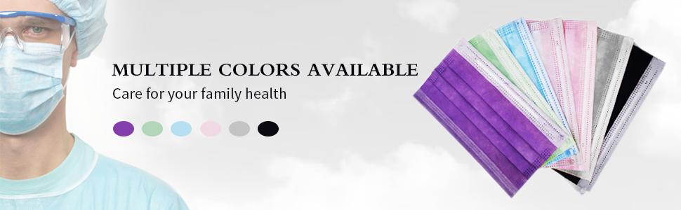 multicolor disposable face mask