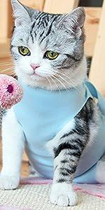 猫術後服ブルー