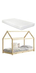 Lit cabane forme maison Netstal pin pour enfants 90x200cm bois naturel matelas mousse à froid