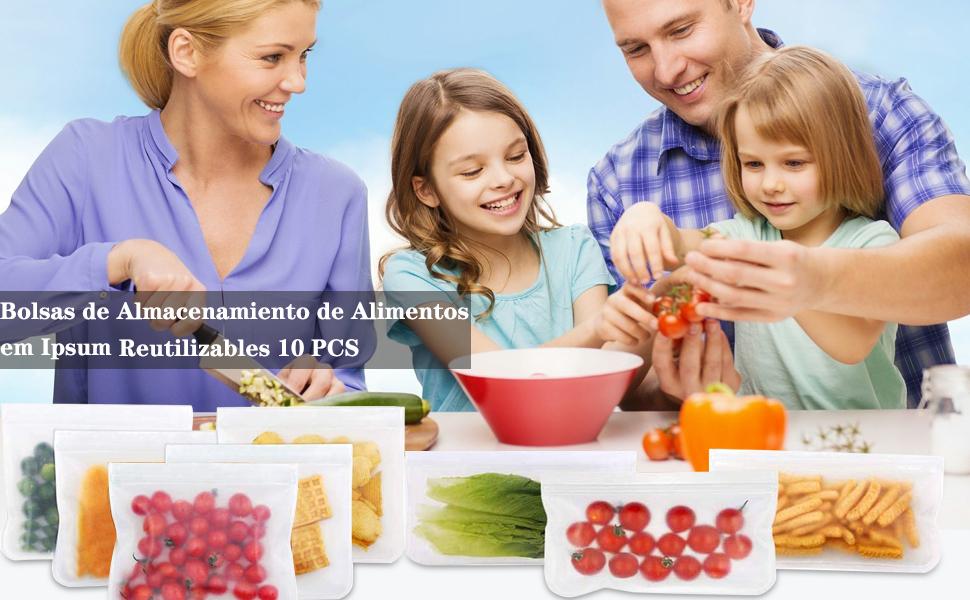 DMFSHI Bolsa De Almacenamiento De Tarros De Alba/ñil S, M, L 15 PCS Bolsa Alimentos Reutilizable Bolsa de Almacenamiento de Alimentos Impermeable a Prueba de Fugas para Bocadillos de Galletas