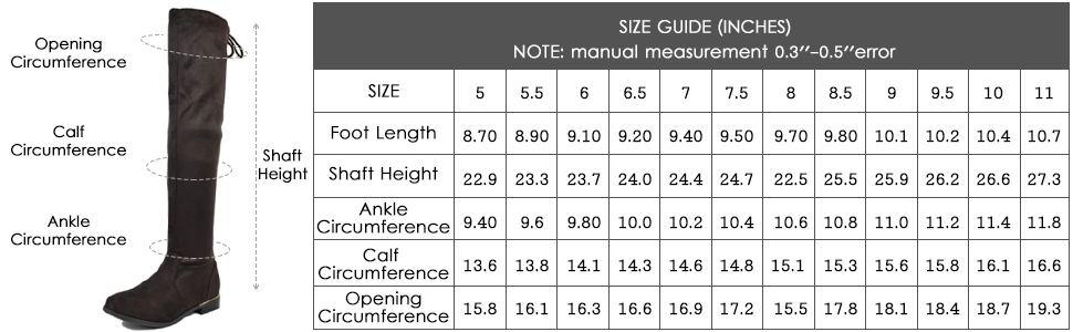 DREAM PAIRS Women's Low Heel Thigh High Over The Knee Flat Boots