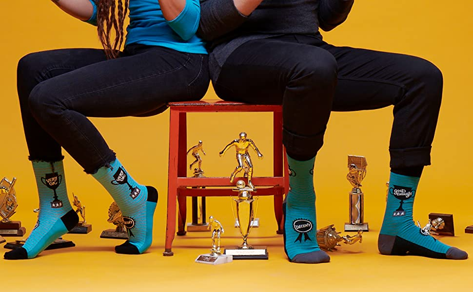 ok, mediocre, decent, trophy, funny, socks, fun, participation, good enough